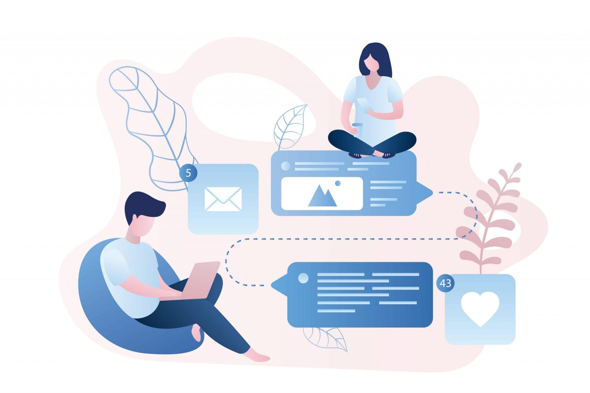 People With Smart Gadgets, Online Talking, and Chatting, Social Network, Trendy Style Vector Illustration.