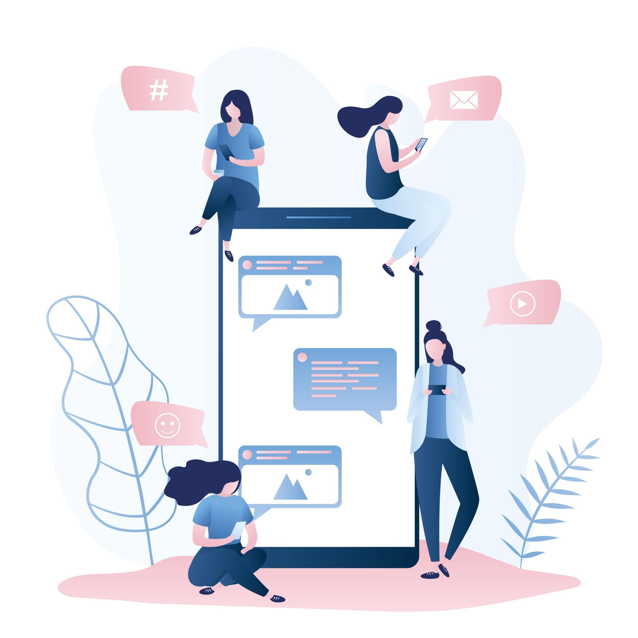 Big Mobile Phone and Female Characters With Gadgets for Communication, Speech Bubbles With Icons, Social Network Concept, Trendy Vector Illustration.
