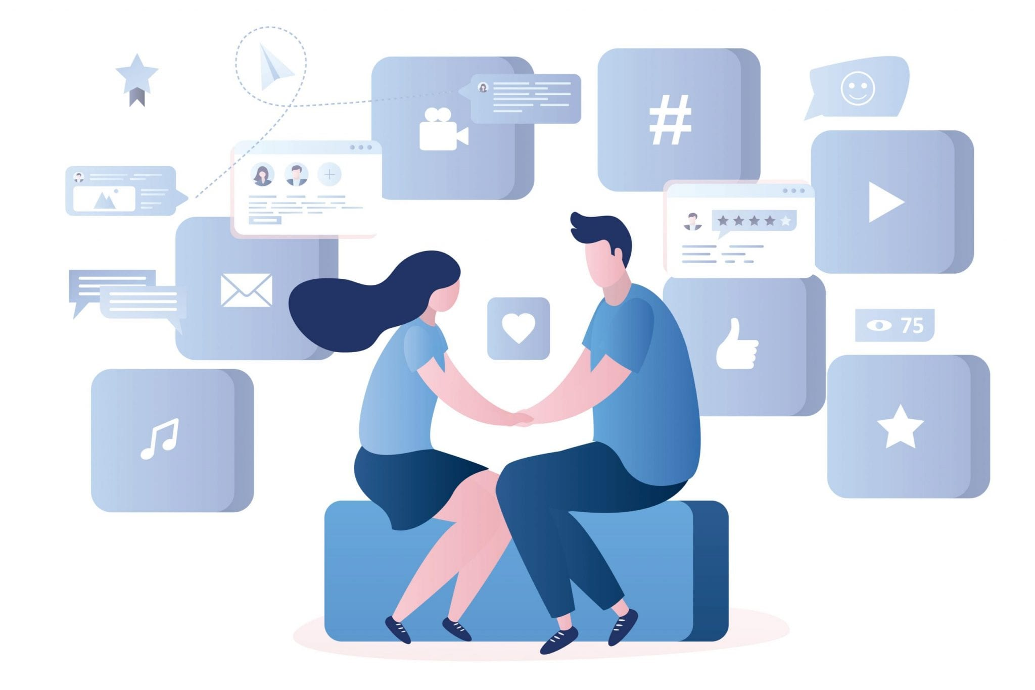 Love Couple Sitting on the Big Button With a Heart Symbol, Various Web Signs, and Apps on Background, Chatting in Global Network, Male and Female Characters, Trendy Style Vector Illustration.