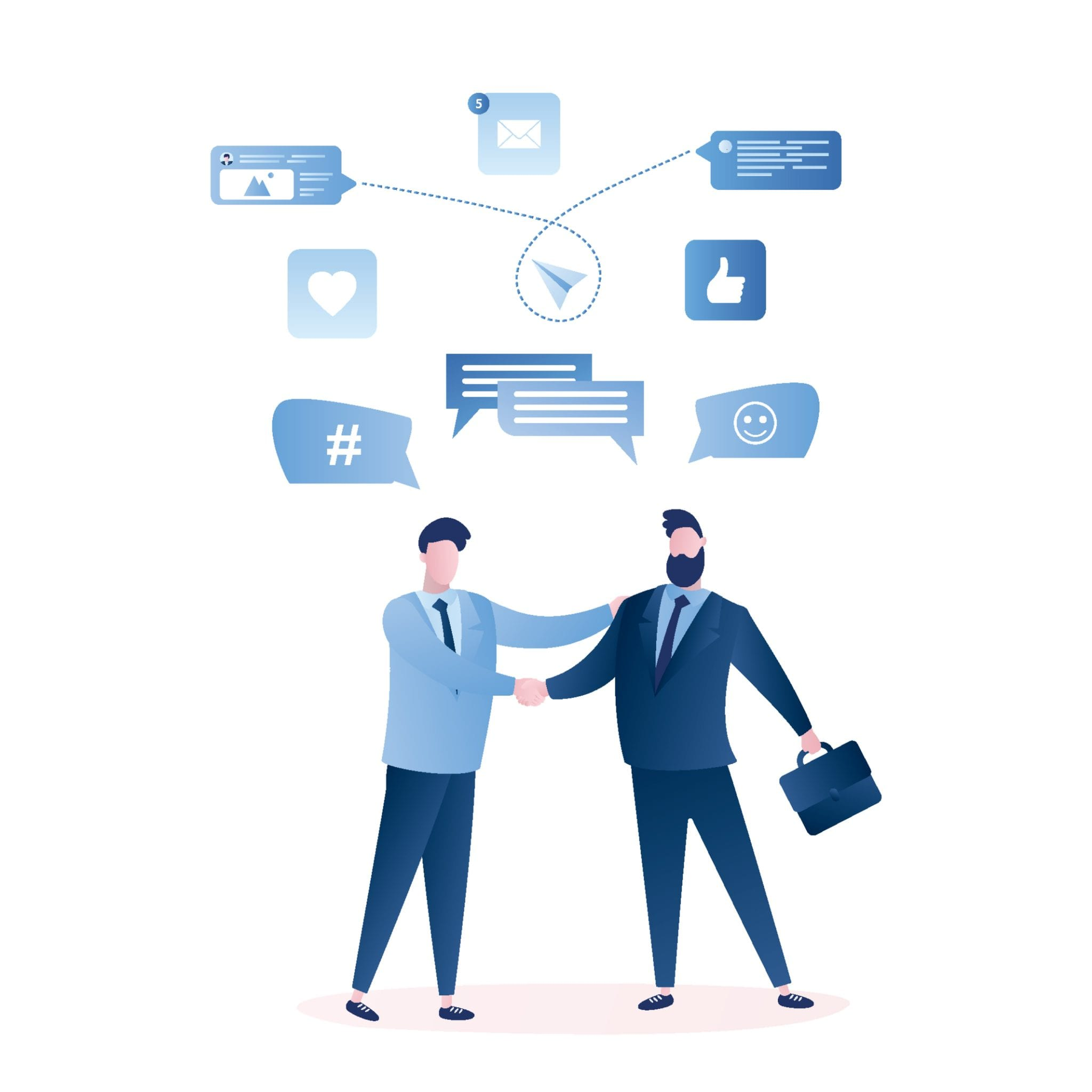 Businessmen Handshake, Successful Business Negotiations and Agreement Concept, Male Characters and Signs Isolated on White Background. Trendy Style Vector Illustration.