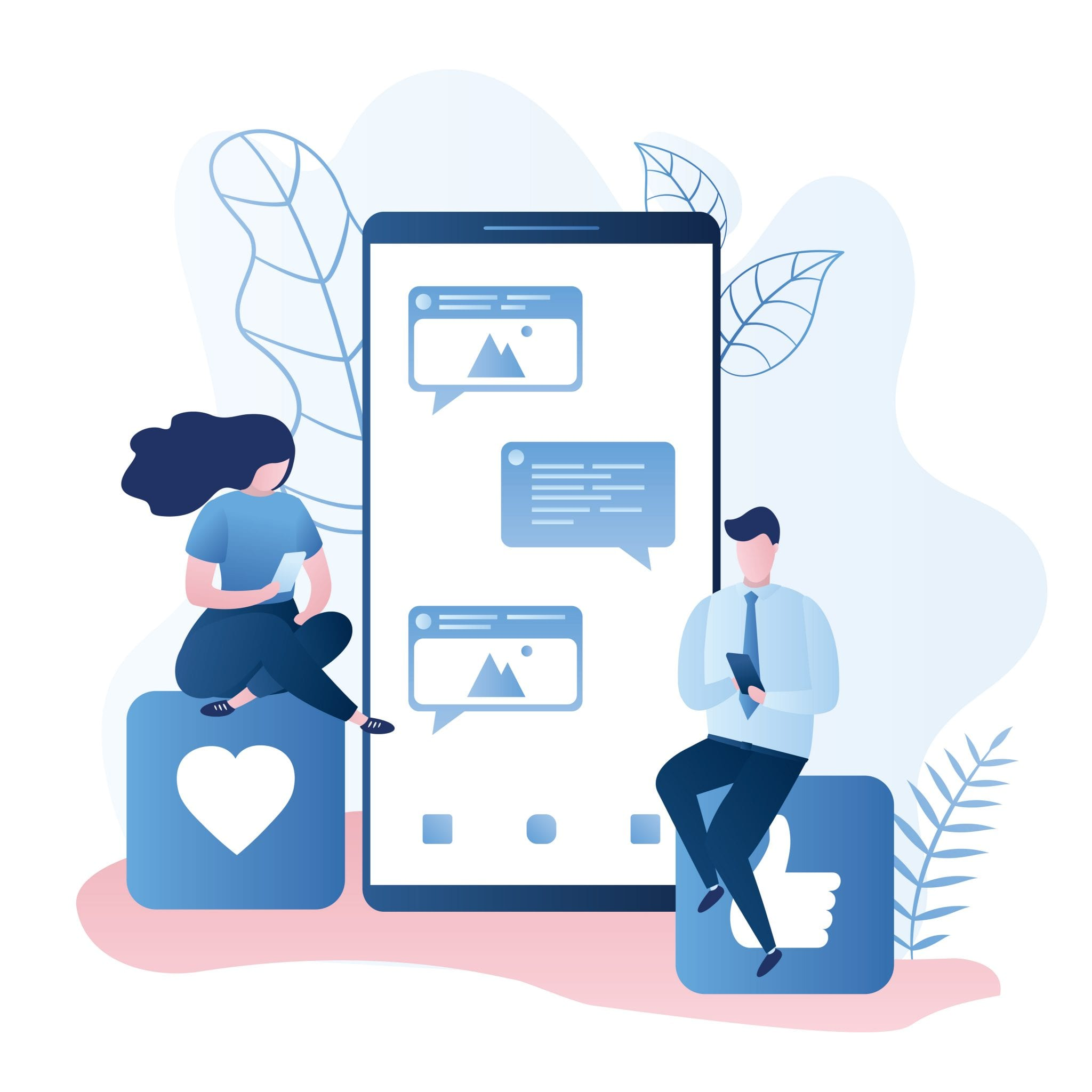 Big Modern Smartphone With Speech Bubbles and Two Cute Male and Female Characters Sitting on Signs and Chatting, trendy Style Vector Illustration.