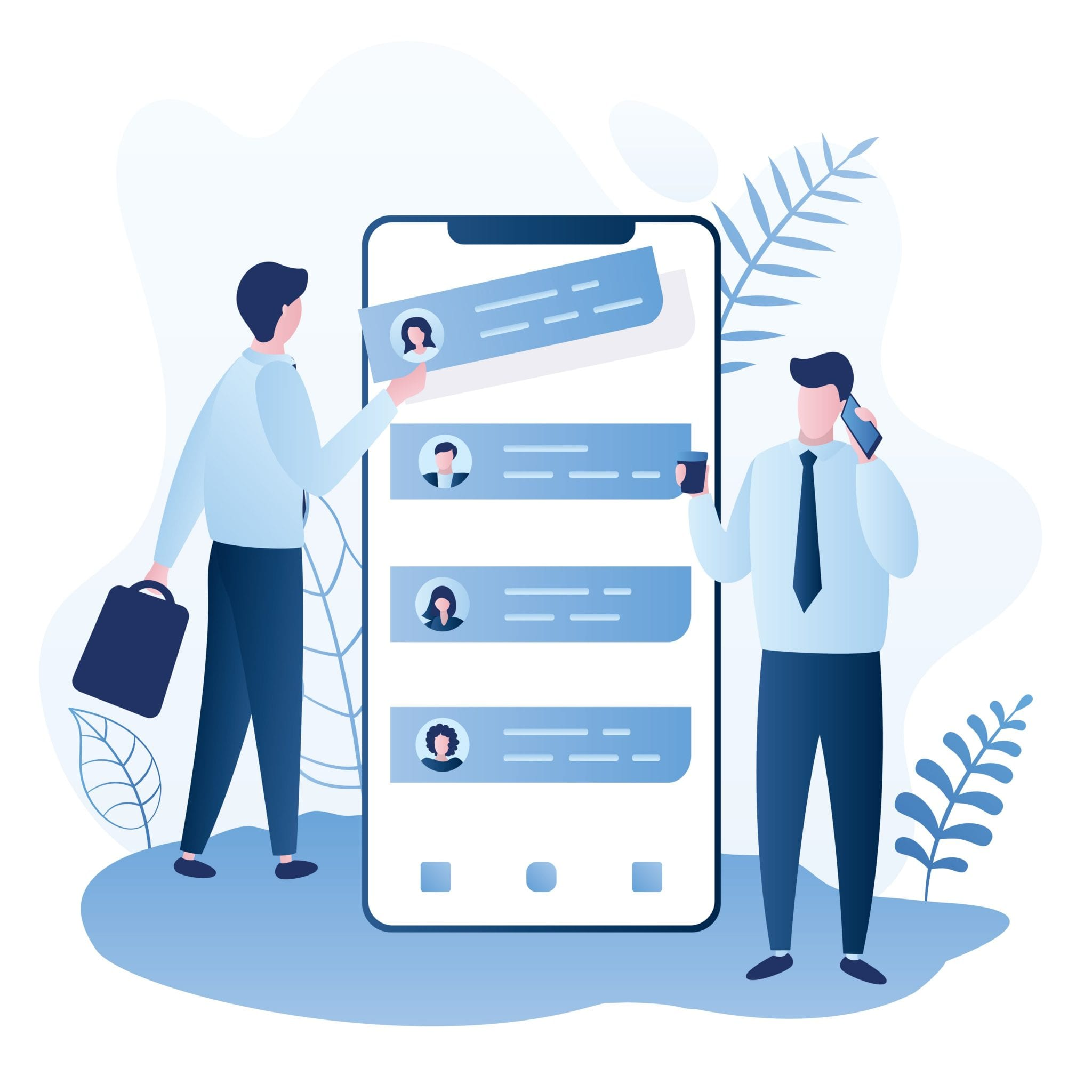 Two Businessmen and Big Smartphone With Application, Team Building and Hiring- Concept Background, Trendy Style Vector Illustration.