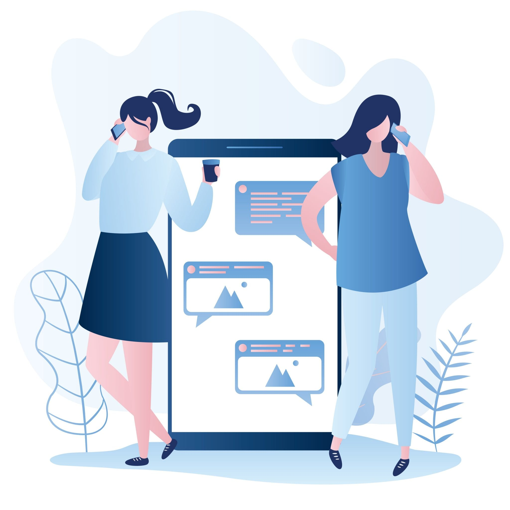 Big Smartphone With Speech Bubble and Young Women Chatting, Internet Social Communication Concept, Vector Illustration in Trendy Style.