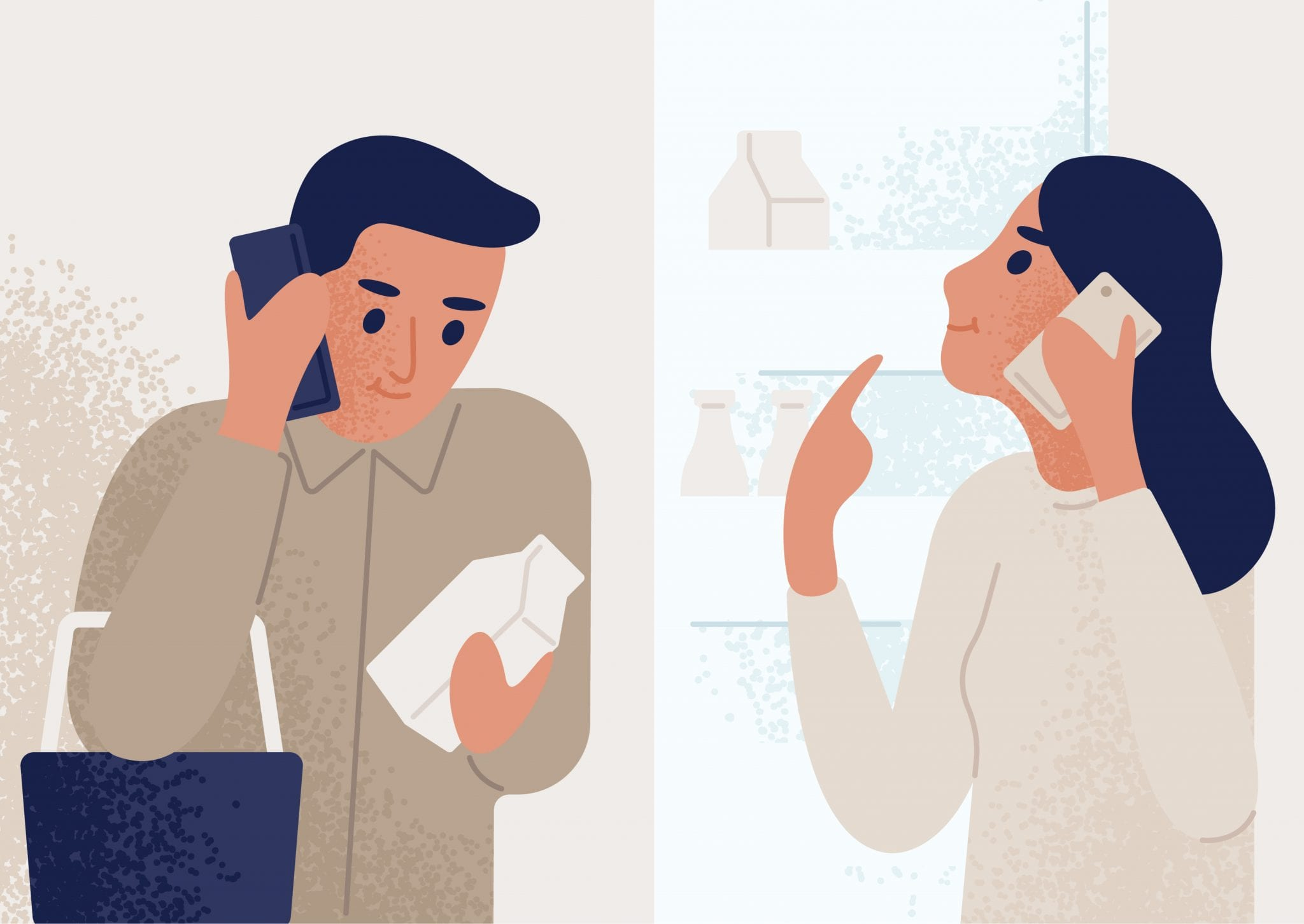 Woman Standing Near Opened Refrigerator and Talking on Mobile Phone to Man Shopping for Groceries. Couple Communicating Through Smartphone. Telephone Conversation or Dialog.