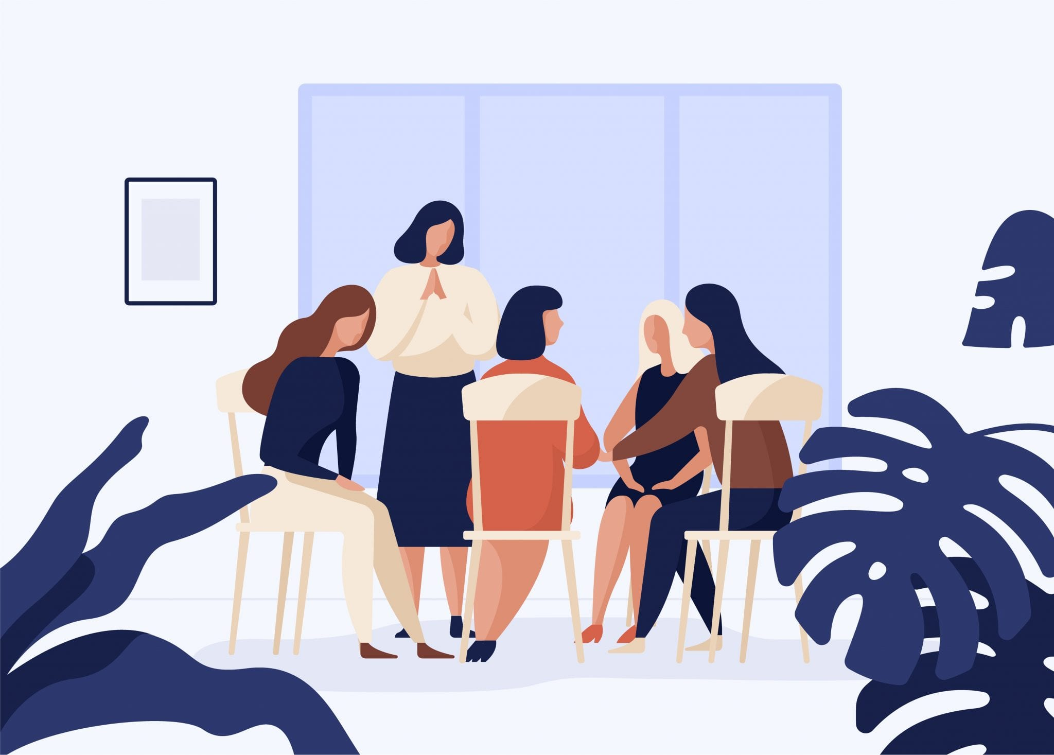 Female Characters Sitting on Chairs in Circle and Talking to Each Other. Group Therapy, Psychotherapeutic Meeting or Psychological Aid for Women.