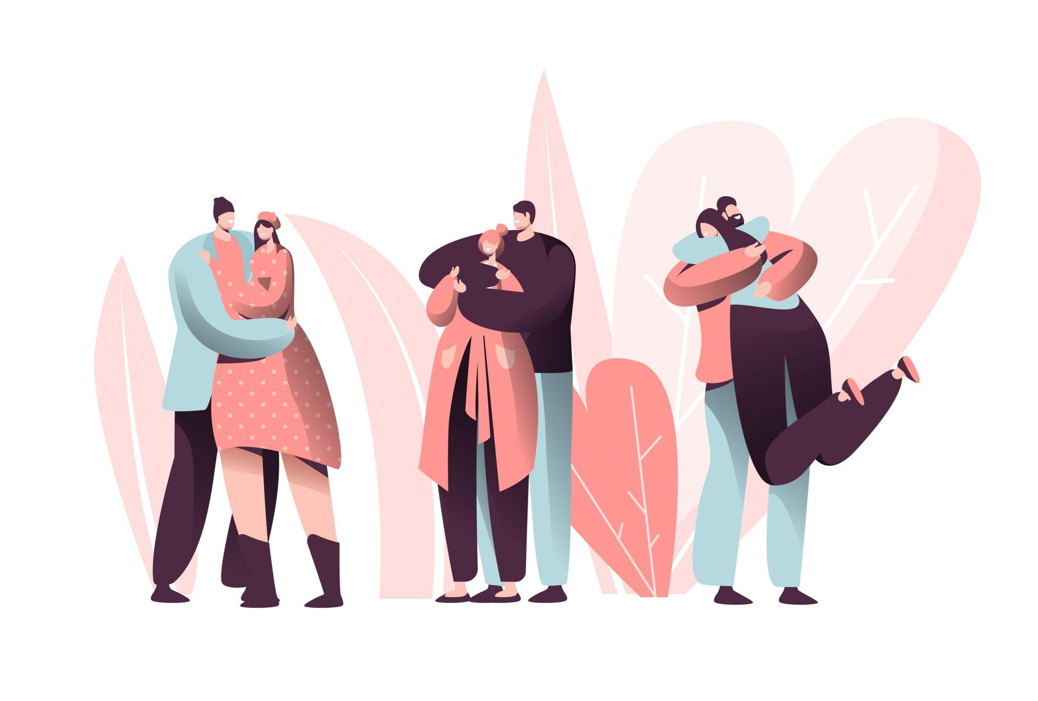 Love Couple Character Hug on Valentine Dating Set. Happy Lover Relationship Anniversary Lifestyle. Woman Man Romantic Connection
