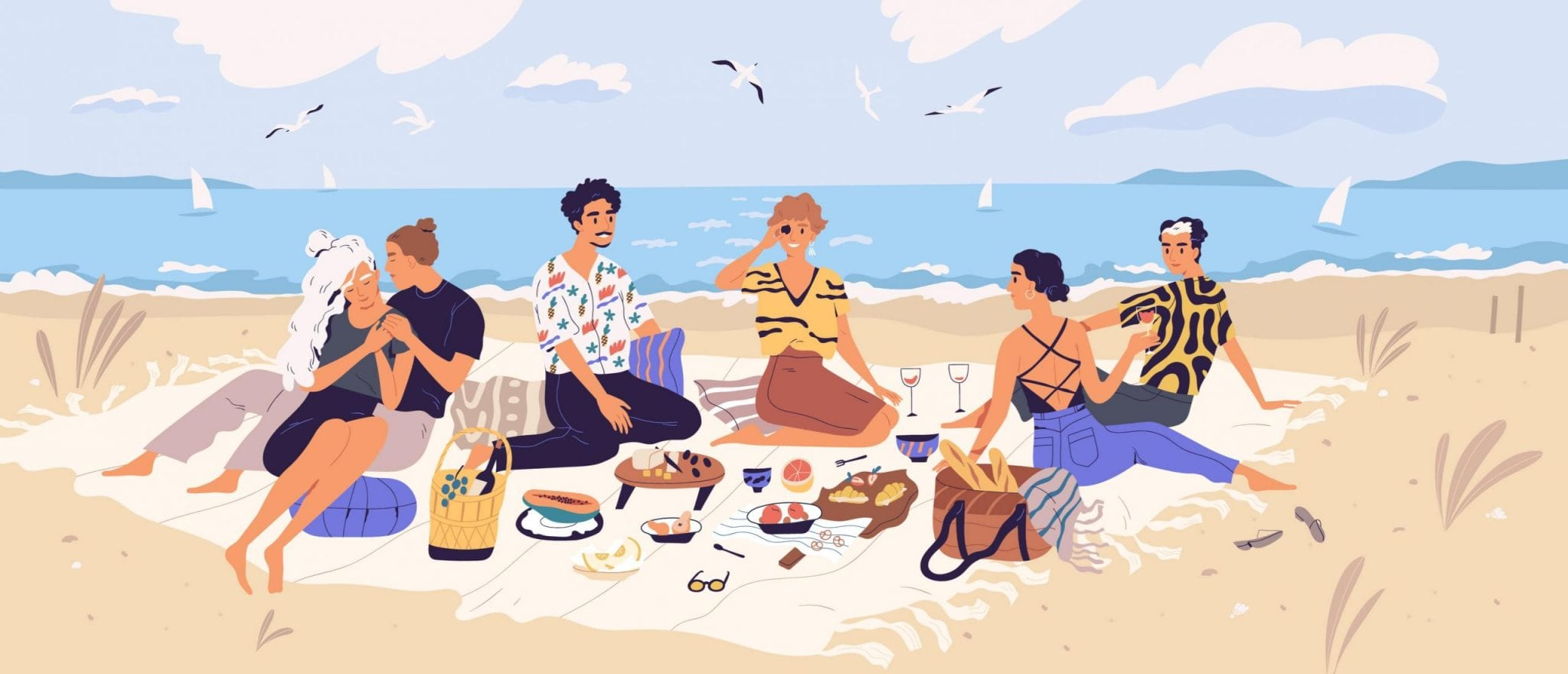 Group of Happy Friends at Picnic on Seashore. Young Smiling Men and Women Eating Food on Sandy Beach. Cute Funny People Having Lunch Together on Sea Shore.