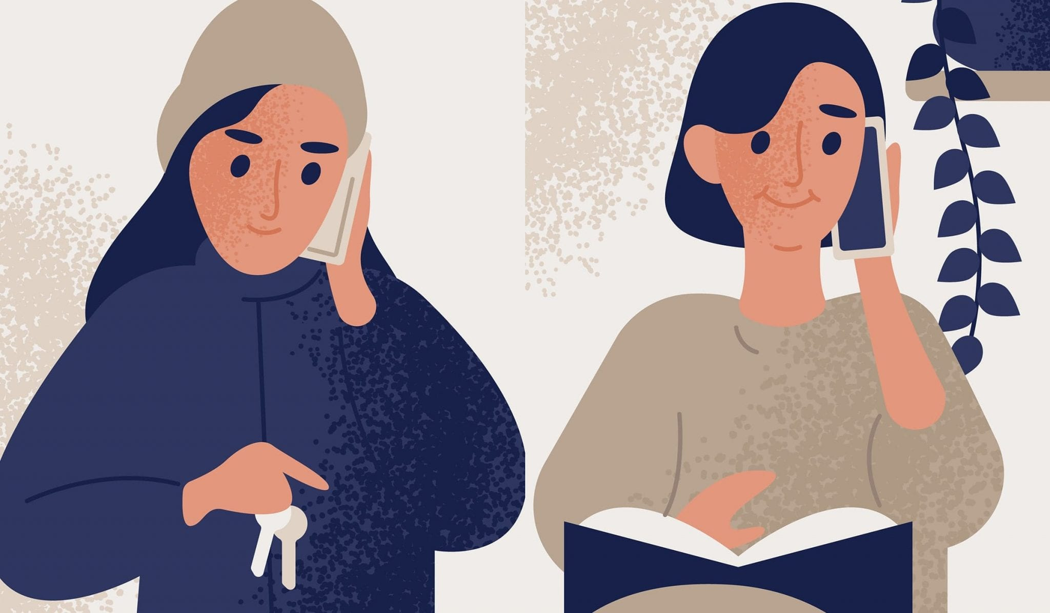 Woman and Woman on Phone Call