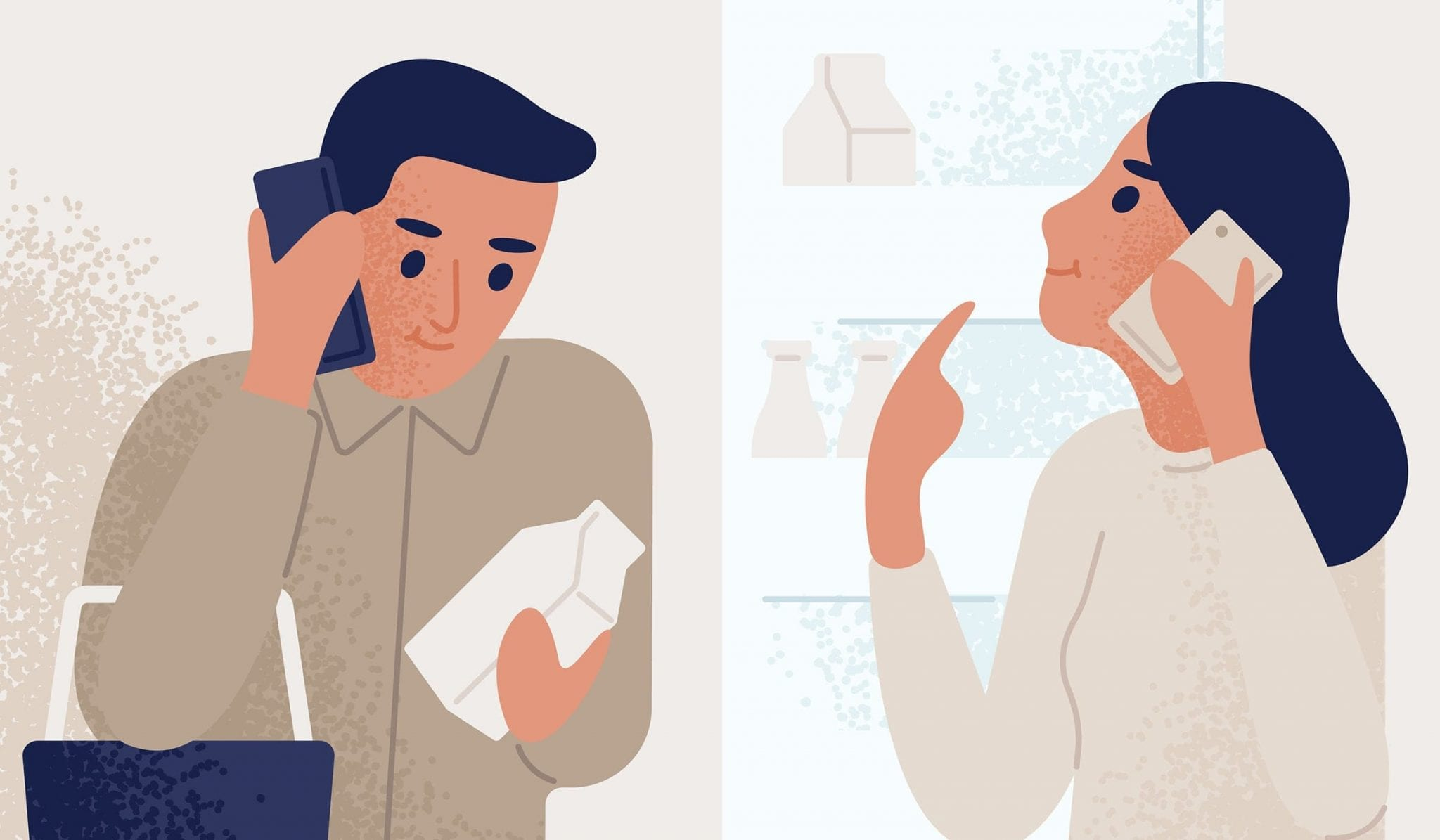 Man and Woman on Phone Call